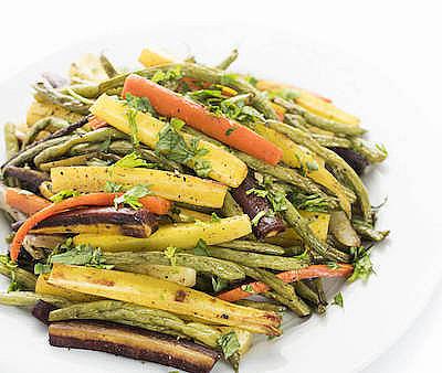 Za'atar Roasted Carrots & Green Beans